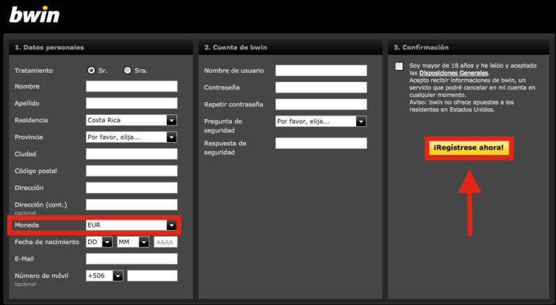 bwin registro sencillo para Jugadores en Colombia